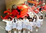 日本唯一の消防専門博物館で敬礼するさんみゅ〜