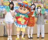(左から)指原莉乃、しんのすけ、朱美ちゃん(橋本小雪)、細貝さん(中野聡子) (C)ORICON NewS inc.