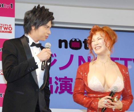 『NOTTVサービス発表会2015』に出席した(左から)アレクサンダー、叶恭子 (C)ORICON NewS inc.