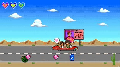 車にガールフレンドを乗せた久保田利伸キャラが宝石を集める
