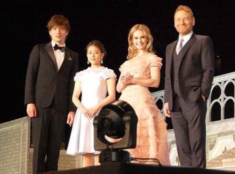 映画『シンデレラ』のジャパンプレミアに出席した(左から)城田優、高畑充希、リリー・ジェームズ、ケネス・ブラナー (C)ORICON NewS inc.