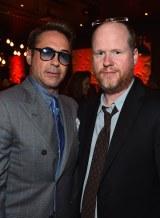 『アベンジャーズ/エイジ・オブ・ウルトロン』のワールドプレミアに登場したロバート・ダウニー・Jr.(左)とジョス・ウェドン監督(右)