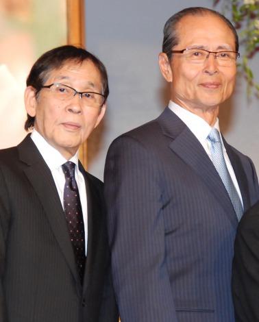 森光子さんをしのぶ会に出席した(左から)萩本欽一、王貞治氏 (C)ORICON NewS inc.