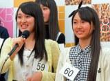 姉妹でドラフト候補生となった(左から)姉の野村奈央さん(15)と妹の野村実代さん(12) (C)ORICON NewS inc.