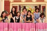 (前列左から)益田由美、河野景子、有賀さつき、八木亜希子、(後列左から)近藤サト、小島奈津子、木佐彩子