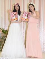 結婚情報誌『ゼクシィ』の新CM&CMソング発表会に出席した(左から)新木優子、椿鬼奴 (C)ORICON NewS inc.