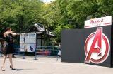 弓射式に挑戦した米倉涼子=映画『アベンジャーズ/エイジ・オブ・ウルトロン』大ヒット祈願イベント