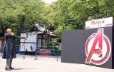 弓射式に挑戦した竹中直人=映画『アベンジャーズ/エイジ・オブ・ウルトロン』大ヒット祈願イベント