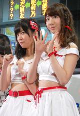 『西鉄バス 総選挙当日臨時バス行き先案内LED〜AKB48総選挙ver〜お披露目』イベントに出席した(左から)指原莉乃、柏木由紀 (C)ORICON NewS inc.