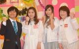 『アイドリング!!!10年目の明日ング!!!』の収録に参加した(左から)バカリズム、新メンバーの朝日るな、橋本夏希、酒井芳子 (C)ORICON NewS inc.
