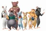 左からガクシャ、マンプク、ヨイショ、ガンバ、潮路、忠太、ボーボ、イカサマ(C)SHIROGUMI INC., GAMBA