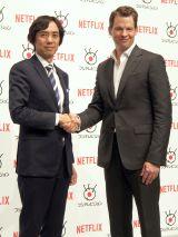 (左から)フジテレビ専務取締役大多亮氏、Netflix代表取締役社長グレッグ・ピーターズ氏 (C)ORICON NewS inc.