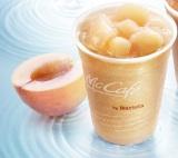 パフェ感覚で楽しめる『桃のスムージー』(Mサイズ430円、Lサイズ470円)