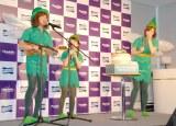 妖精姿を披露した(左から)ダイアモンド☆ユカイ、濱田ここね、黛英里佳=『キシリクリスタル』新CMお披露目記者会見 (C)ORICON NewS inc.