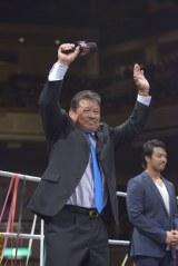 殿堂入りした藤波辰爾(手前)とイタミ・ヒデオ (C)2015 WWE, Inc. All Rights Reserved.