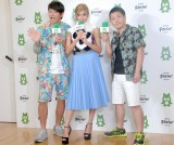公開スタジオ『AmebaFRESH!Studio』オープン記念イベントに出席した(左から)岡田圭右、ローラ、増田英彦 (C)ORICON NewS inc.