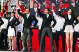 ダンスを披露した(左から)本仮屋ユイカ、遠藤憲一、 菅田将暉、知英(C)ORICON NewS inc.