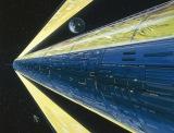 『機動戦士ガンダム展THE ART OF GUNDAM』美術ボード:スペース・コロニー・サイド7(中村光毅 1979年頃)(C)創通・サンライズ