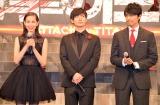 実写映画『進撃の巨人 ATTACK ON TITAN』のジャパンプレミアに出席した(左から)水原希子、三浦春馬、長谷川博己 (C)ORICON NewS inc.