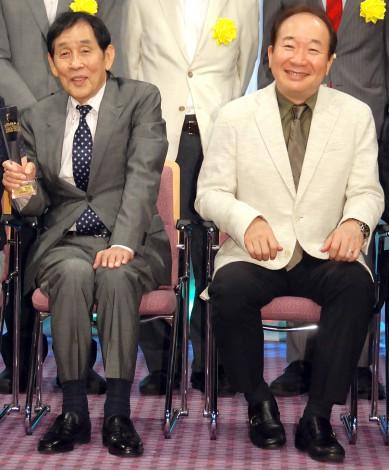 『第5回衛星放送協会オリジナル番組アワード』授賞式に出席した(左から)萩本欽一、中村梅雀 (C)ORICON NewS inc.