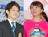 婚約を発表した(左から)小塚崇彦選手、大島由香里アナ (C)ORICON NewS inc.