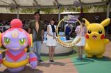(左から)フーパ、篠原信一、山本美月、中川翔子、ピカチュウ(C)ORICON NewS inc.