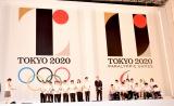 初お披露目された2020年東京五輪の(左から)オリンピック、パラリンピックのエンブレム (C)ORICON NewS inc.