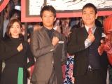 実写映画『進撃の巨人 ATTACK ON TITAN』の初日舞台あいさつに出席した(左から)石原さとみ、三浦貴大、ピエール瀧 (C)ORICON NewS inc.