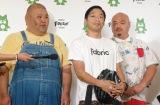 取材に応じた安田大サーカス(左から)HIRO、団長安田、クロちゃん =AmebaFRESH!Studioでの復帰会見 (C)ORICON NewS inc.