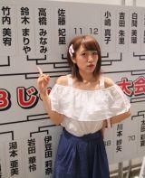 高橋みなみが抽選後、11番に山本彩、12番に小嶋陽菜が入った(C)AKS