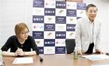 プロジェクトの概要を発表する牧野市長(右)と若新さん=7月10日、福井県鯖江市役所