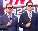 報道陣にお披露目された(左から)本物のタモリと3Dタモリ (C)ORICON NewS inc.