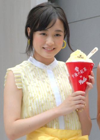 黄色いエプロン姿で登場した大原櫻子=『午後の紅茶 kakigori produced by yelo』オープニングセレモニー (C)ORICON NewS inc.