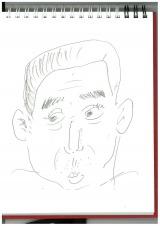 自身の似顔絵で、腕前を披露(C)テレビ朝日