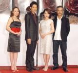 ミュージカル『パッション』制作発表会に出席した(左から)シルビア・グラブ、井上芳雄、和音美桜、福井貴一 (C)ORICON NewS inc.