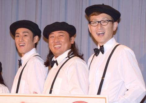 映画『ボーイ・ソプラノ ただひとつの歌声』の公開記念イベントに出席したロバート(左から)山本博、秋山竜次、馬場裕之 (C)ORICON NewS inc.