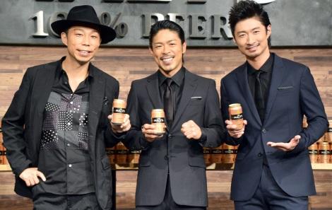 グループ愛を語ったEXILE の(左から)USA、松本利夫、MAKIDAI=『サントリー ザ モルツ』新CM発表イベント (C)ORICON NewS inc.