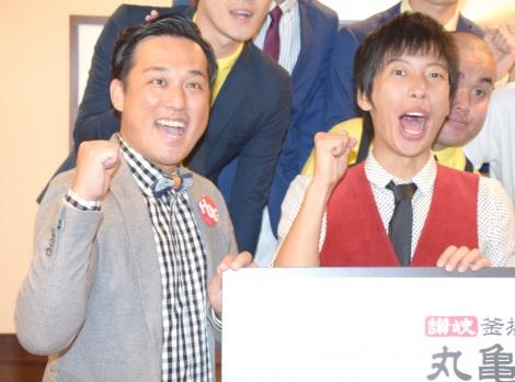お笑い賞レース『丸−1グランプリ』開催開催記者会見に出席した藤崎マーケット(左から)田崎佑一、トキ (C)ORICON NewS inc.