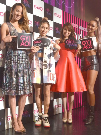 『GYAO! MUSIC LIVE Girls Party』出演前に取材に応じた(左から)道端アンジェリカ、BENI、May J.、Crystal Kay (C)oricon ME inc.