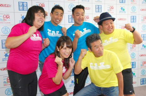 『淀川寛平マラソン2016』開催発表記者会見に出席した(前列左