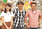 さまぁ〜ず(中央から)大竹一樹、三村マサカズが太鼓判を押した宮司愛海アナウンサー(左端) (C)ORICON NewS inc.