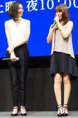 WOWOWの『連続ドラマW 海に降る』完成披露4K試写会に出席した(左から)板谷由夏、有村架純 (C)ORICON NewS inc.