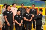 10月31日放送、TBS系『炎の体育会TVSP』に出演し、スタジオでワールドカップについて語るラグビー日本代表選手。(左から)アマナキ・レレイ・マフィ選手、田中史朗選手、山田章仁選手(C)TBS