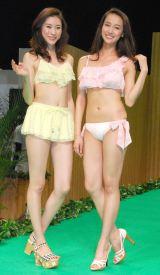 『2016新作水着合同展示発表会』ファッションショーに登場した(左から)島田七実、海老沼さくら (C)ORICON NewS inc.