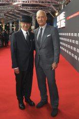 映画『ブリッジ・オブ・スパイ』のインターナショナルプレミアに登場した(左から)スティーブン・スピルバーグ監督、トム・ハンクス