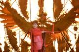 炎が舞い上がるステージに真っ赤な衣裳で登場した小林幸子=映画『ハンガー・ゲーム FINAL:レボリューション』公開記念イベント