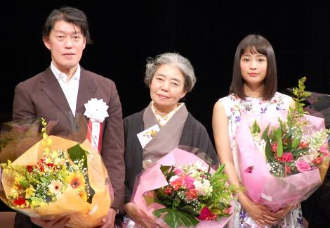 『第39回山路ふみ子映画賞』を受賞した(左から)原恵一、樹木希林、広瀬すず (C)ORICON NewS inc.