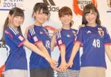 ユニフォーム姿で登場した(左から)大島優子、小嶋真子、西野未姫、岡田奈々 (C)ORICON NewS inc.