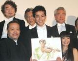 映画『マエストロ!』の初日舞台あいさつに出席した(前列左から)西田敏行、松坂桃李、miwa (C)ORICON NewS inc.