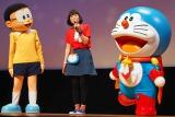 (左から)『映画ドラえもん のび太の宇宙英雄記』完成披露イベントに出席したのび太、ドラえもん役声優・水田わさび、ドラえもん (C)ORICON NewS inc.